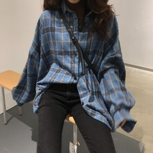 2019 spring Korean version of the loose shirt female design sense small long woolen plaid long-sleeved tide