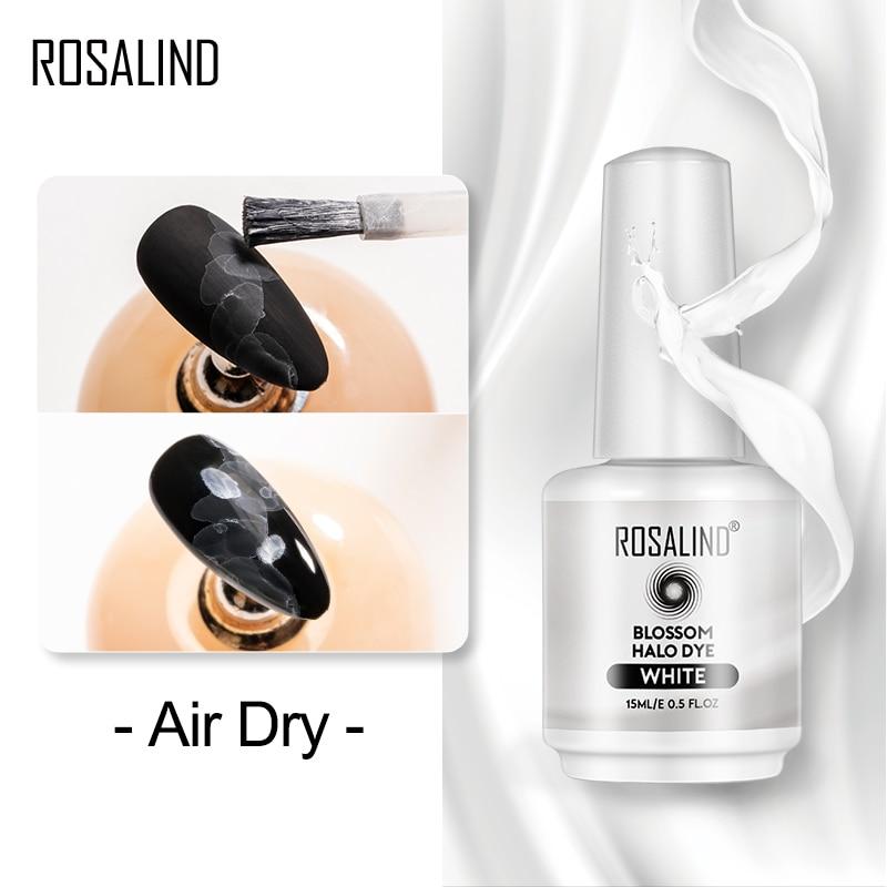 Гель-лак ROSALIND для маникюра с белыми цветами, цветущее украшение для сушки на воздухе, топ для ногтей «сделай сам», гибридные Лаки