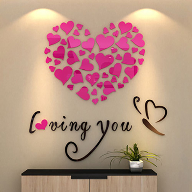 New Fashion Lovely Mirror Hearts Home 3D Wall Stickers Decor DIY Decal Removable 3