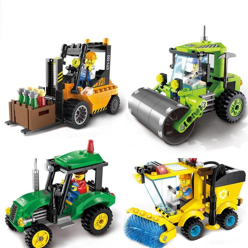 Kids Love 4 Type Civilized City Sweeper Model Building Blocks Toys Kit DIY Educational Children Birthday Gifts(China)