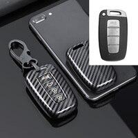 Capa em carbono para chave remota de carro, para hyundai ix35 accent veloster para kia sportage forte optima azera sorento
