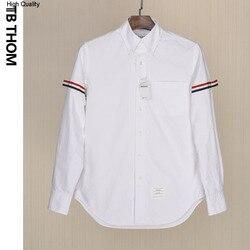 Herren langarm shirts mit Tri-farbe gurtband mode sommer weiß shirts männer Oxford Textil Popeline casual shirts männlichen