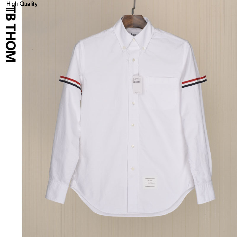 Men's Long Sleeve Shirts With Tri-color Webbing Fashion Summer White Shirts Men Oxford Textile Poplin Casual Shirts Male