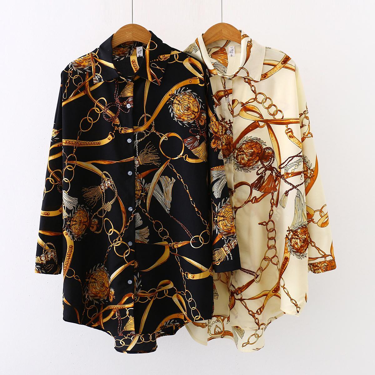 Plus size Fashion casual oversized Women Blouses 2020 Spring chiffon Blouse three quarter sleeve Loose Tops Shirts Blusas Mujer(China)