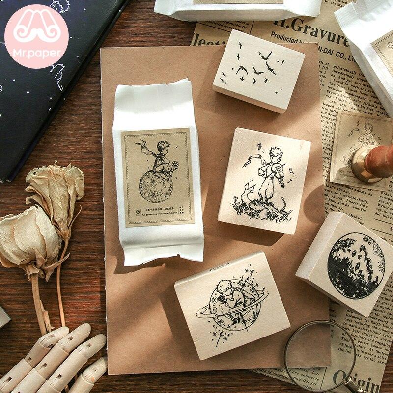Mr.paper Vintage Little Prince Moon Decoration Stamp Wooden Rubber Stamps for Scrapbooking Stationery DIY Craft Standard Stamp 5