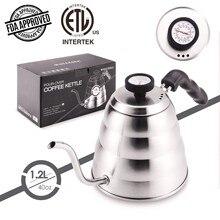 Chaleira de chá de aço inoxidável com termômetro, gooseneck bico fino para derramar sobre o pote de café, funciona no fogão, 40oz/1.25l