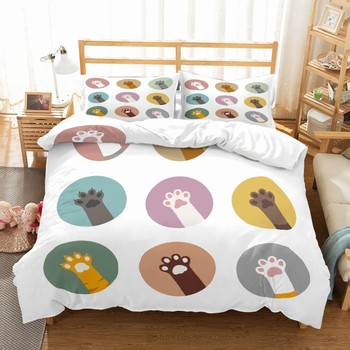 Cute Cat PAWS 3D Printed Bedding Cover Cartoon Comfortable Bedding Cover Pillowcase 2/3 AU/US/EU Size Household Bedding image