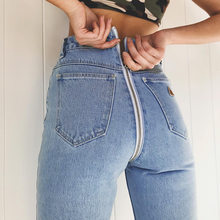New Jeans Women Back Zipper Slim High Waist Denim Blue Shinny Pencil Trousers Boyfriend Hole Jeans For Women Streetwear 2019Hot(China)