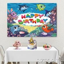 كارتون الغواصة العالم الاطفال عيد ميلاد خلفية الطفل تظهر حفلة كعكة الجدول الديكور القرش Octopus جراد البحر الأعشاب البحرية خلفية