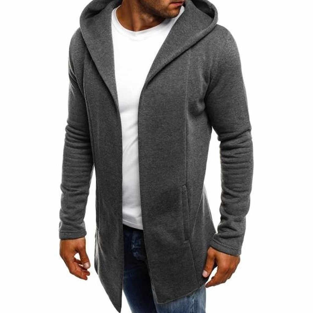 Novo 2020 jaquetas masculinas casuais splicing com capuz sólido trench coat jaqueta cardigan manga comprida outwear blusa homem jaqueta masculina