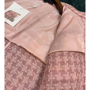 Image 4 - Cosmicchic 2020 Runway Women Tweed Jacket Single Breasted Pink Plaid Pocket Short Coat Weave Jackets Elegant Office Clothes