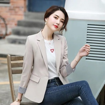 Fashion New Spring Autumn Female Fashion Blazers And Jackets Long Sleeve One Button Patchwork Blazer Coat Women Outerwear 2020 fashion hot new women blazers and jackets long sleeve slim blazer ruffle short blazer design candy color outerwear