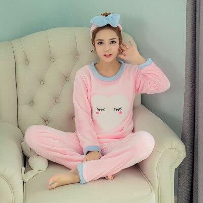 Winter New Style Warm Pajamas Women's Flannel Crew Neck Cute Students Long Sleeve Coral Velvet Pajamas WOMEN'S Suit