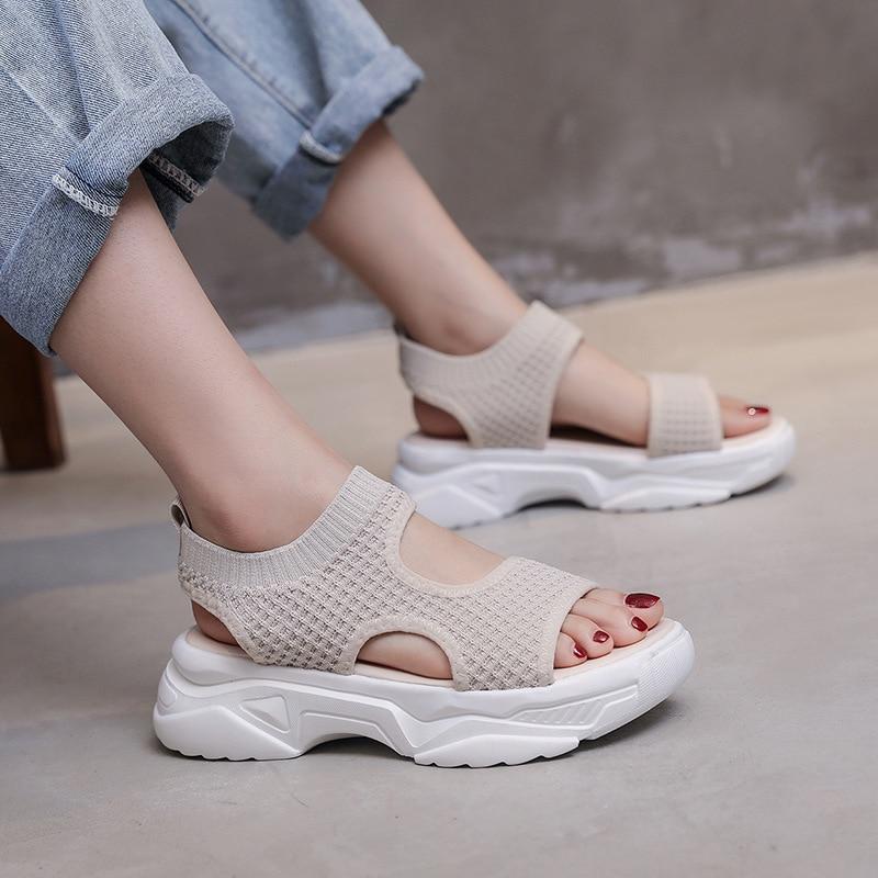 2020 New Women's Mesh Sandals Open Toe Breathable Female Shoes Ladies Wedge Platform Sandals For Women