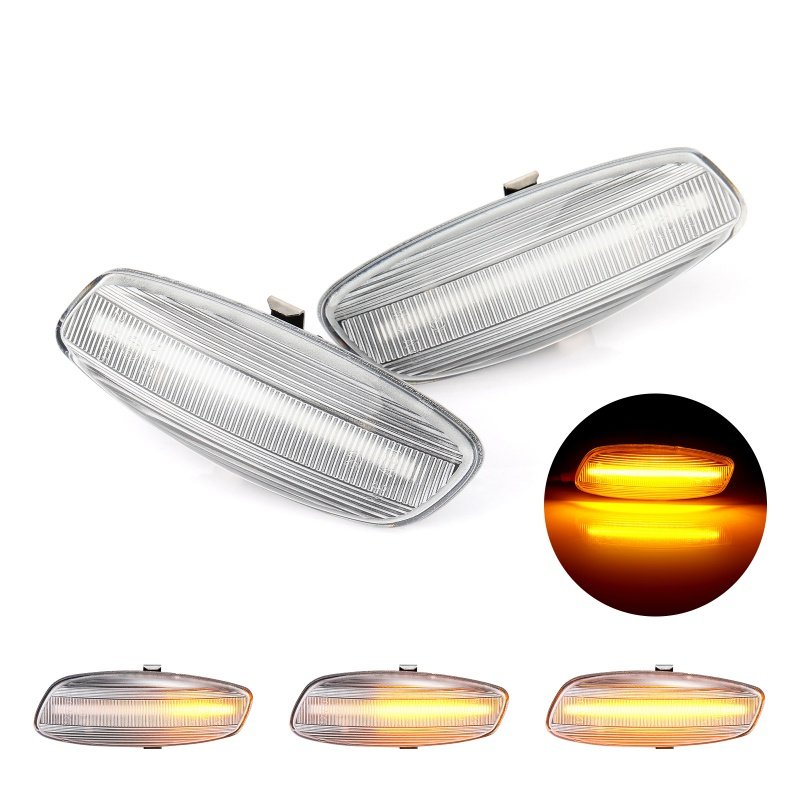 Dynamic Smoke <font><b>LED</b></font> Side Marker Signal Light for <font><b>Peugeot</b></font> 207 <font><b>308</b></font> 3008 5008 for Citroen C3 C4 C5 Car Turn Signal <font><b>Lamp</b></font>(2Pcs) image