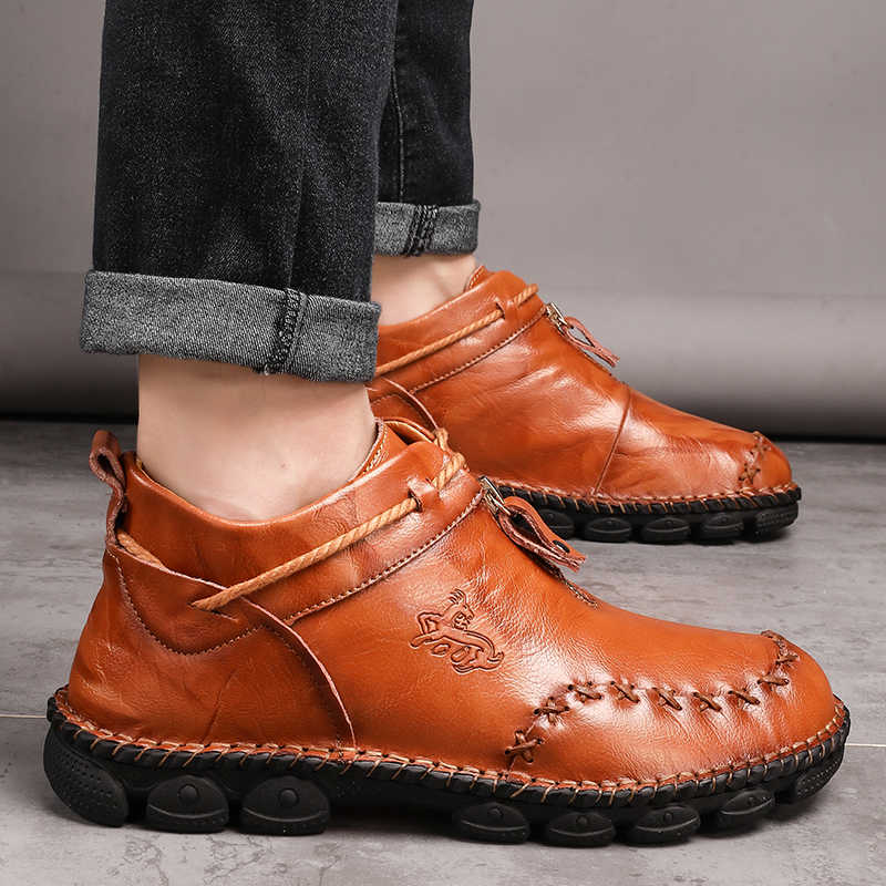 Sonbahar/kış yeni deri erkek botları artı boyutu 38-48 yüksek üstleri erkek rahat bileğe kadar bot rahat erkek kar ayakkabıları iş ayakkabısı