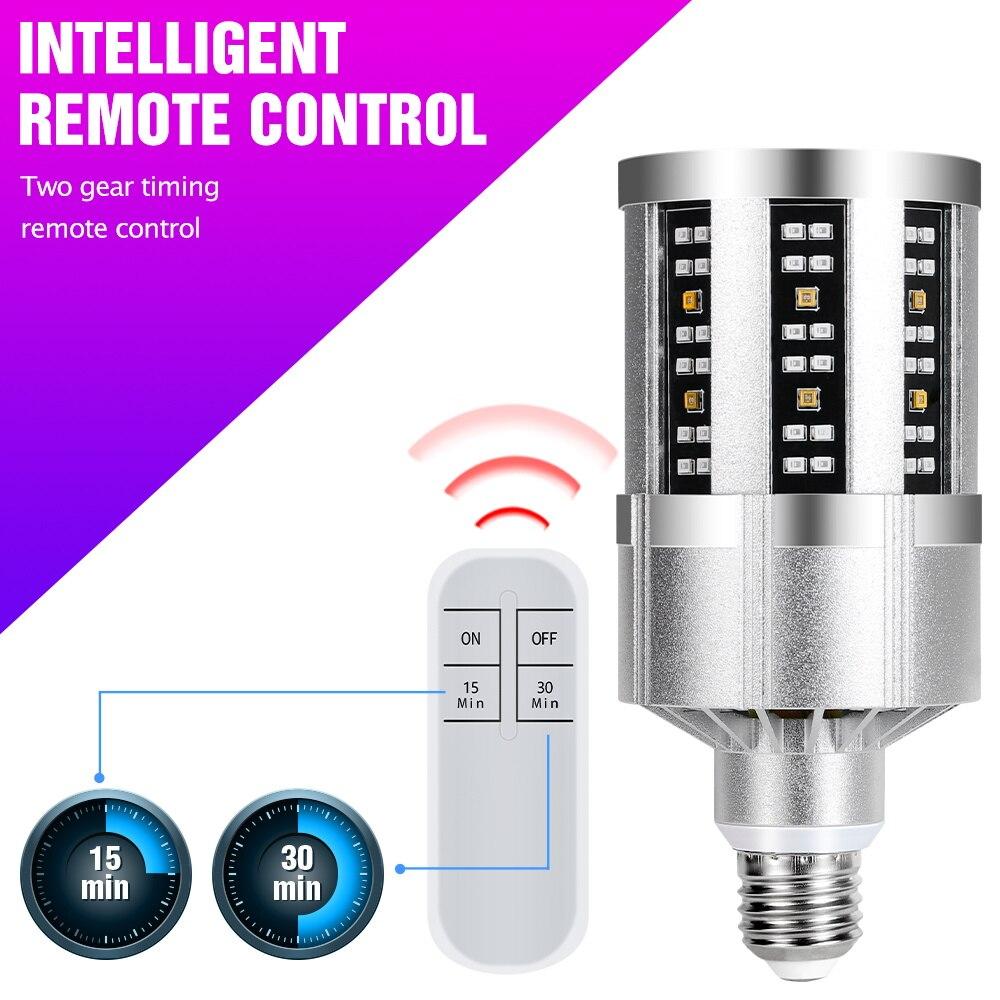 UV Light Sterilizer E27 Led UVC Germicidal Lamp 220V Ultraviolet Disinfecting Led Corn Bulb 110V Remote Control Led Ozone Light