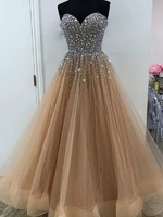 A Line Sweetheart Neckline Silver Beaded Top Brown Prom Dress Horse Hair Hem