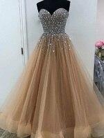A Line Sweetheart Neckline Silver Beaded Top Brown Prom Dress Horse Hair Hem