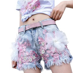 Women Casual Sexy Denim Shorts Summer Floral Embroidery Jeans Shorts Skinny Vintage Tassel Shorts Femme