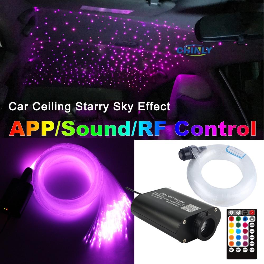 12V 자동차 LED 광섬유 라이트 블루투스 APP 스마트 컨트롤 음악 컨트롤 별이 빛나는 하늘 효과 라이트 키트 3m 295pcs 혼합 케이블