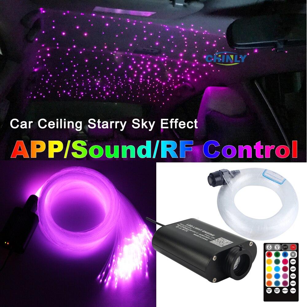 12V voiture LED Fiber optique lumière Bluetooth APP contrôle intelligent musique contrôle ciel étoilé effet lumière kit 3m 295 pièces mixte câble