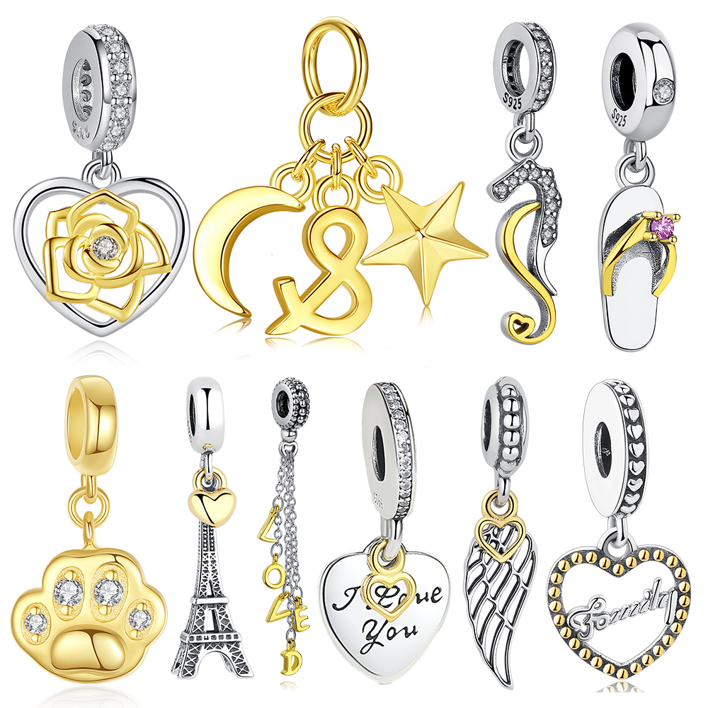 Original European Gold Bead 925 Sterling Silver Eiffel Tower Moon Star Love Heart Dangle Charms Fit Pandora Bracelet DIY Jewelry