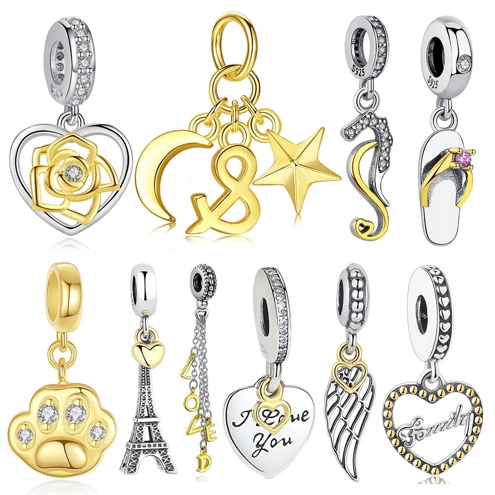 Original European Gold Bead 925 Sterling Silver Eiffel Tower Moon Star Love Heart Dangle Charms Fit Pandora Bracelet DIY Jewelry