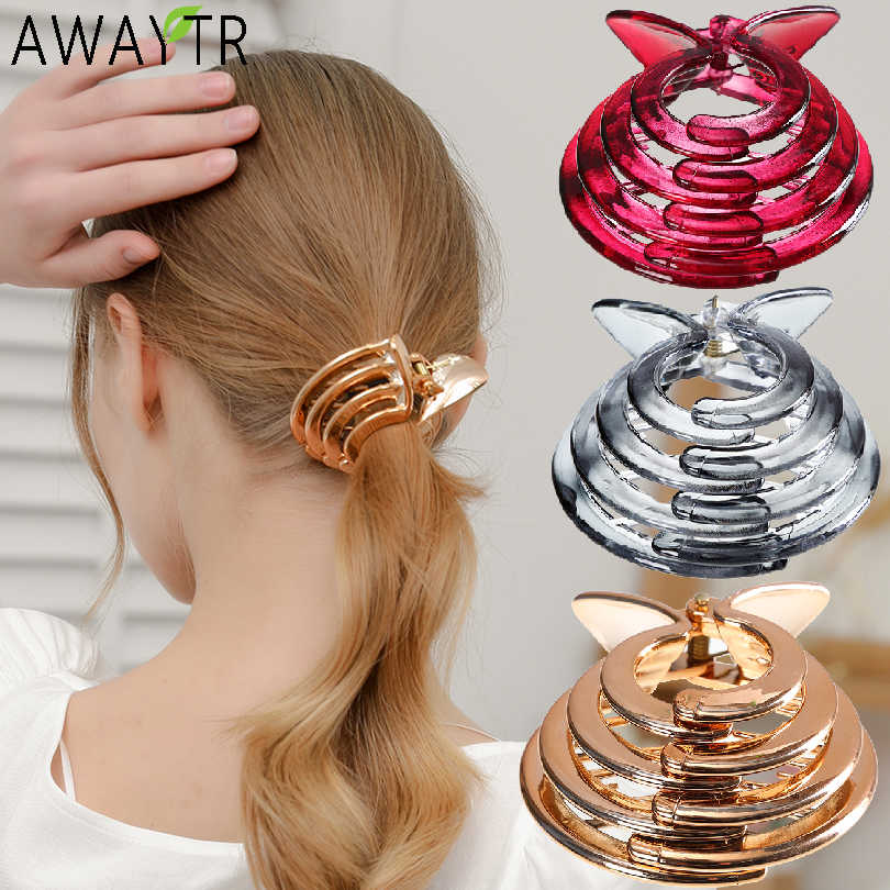 Adjustable Women Crystal Expanding Tail Hair Holders Clips Grips Clamps Claw