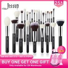 Ensemble de pinceaux de maquillage Jessup professionnel pinceau de fond de teint poudre fard à paupières Rougir poils naturels 6pcs-25pcs noir / argent