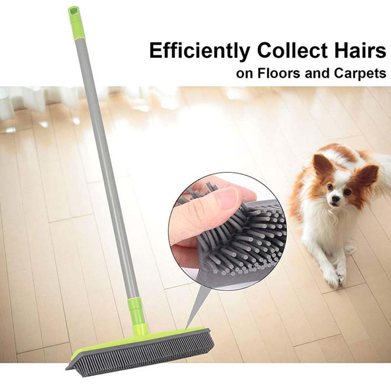 New Rubber Broom Pet Hair Lint Removal Device Telescopic Bristles  Clean Sweeper Squeegee Scratch Bristle Long Push Broom