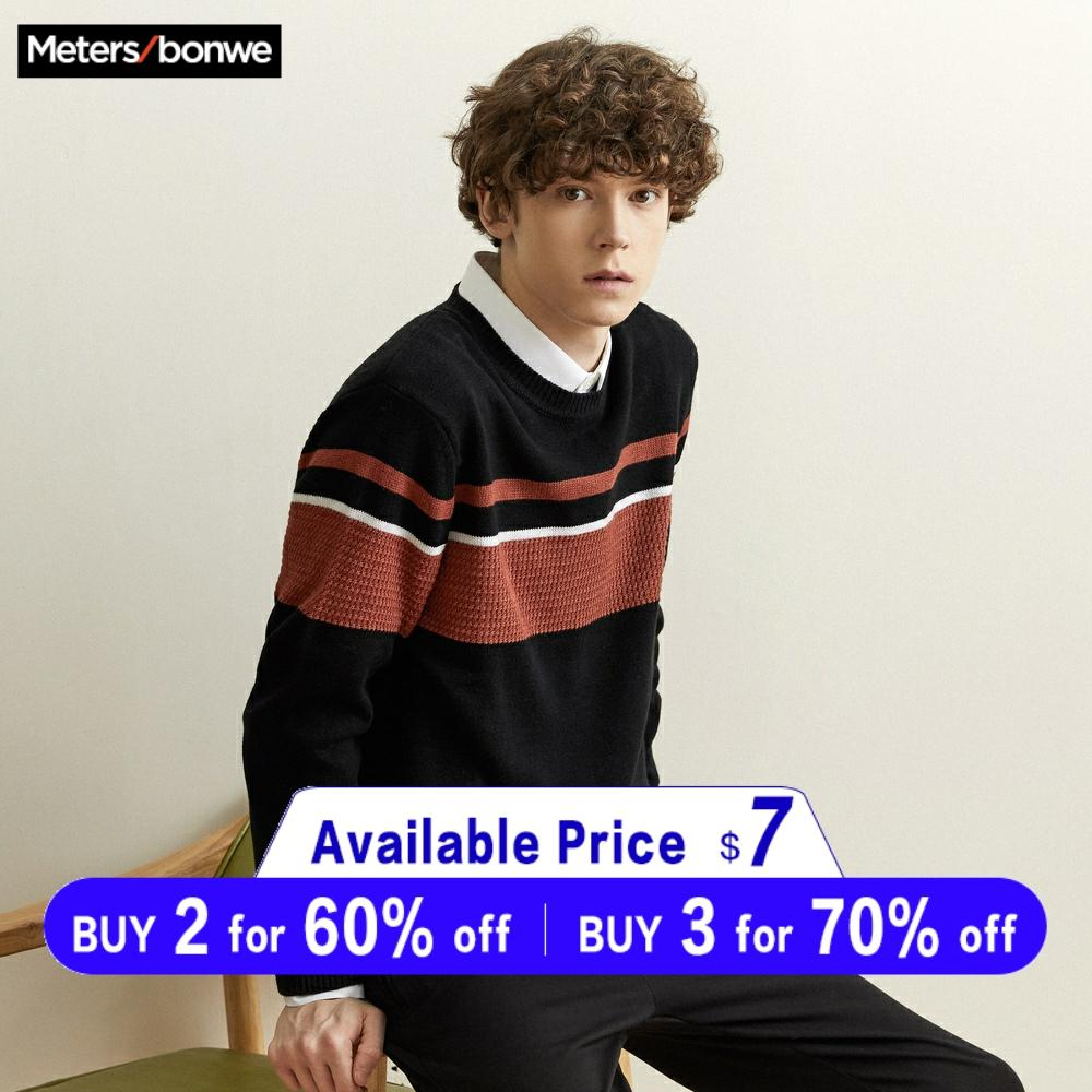 Metersbonwe Cotton Sweater Men 2019 Autumn Winter Fashion Long Sleeve Knitted Striped Men Cotton Sweater High Quality Clothes