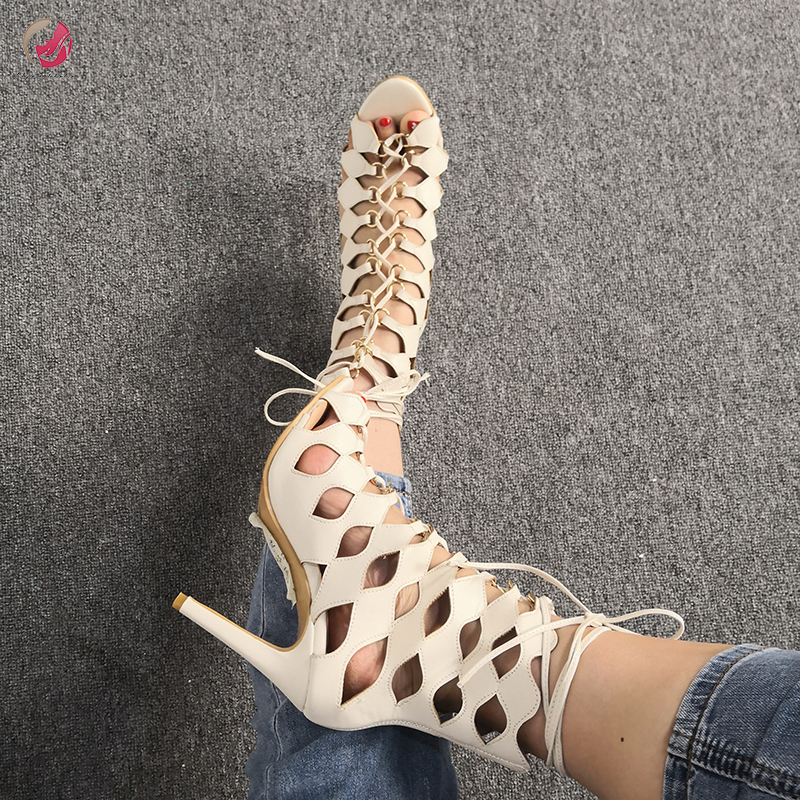Original Intention New Rome Style Beige Sexy Sandals Woman Peep Toe Cross-tied Thin High Heels Party Dress Club Shoes Female