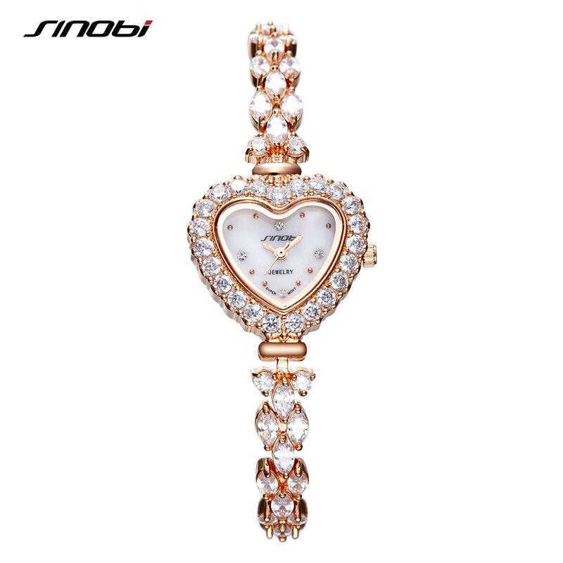 SINOBI Fashion Luxury Woman Diamonds Wrist Watches Crystal Heart Shape Women Watch Dress Limited Ladies Geneva Quartz Clock 2020