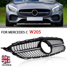 For Mercedes C Class W205/C205/S205 1pc ABS Gloss Black Front Grille Replacement Auto Grill Mesh Without Centre Logo Mayitr for w205 amg black front grille for mercedes c class w205 c205 s205 without centre logo