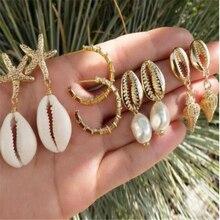 HuaTang 4Pair/Set Boho Gold Shell Pearl Dangle Earrings for Women Beach Conch Starfish Drop Earring Set Jewelry Oorbellen F02101