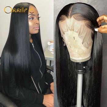 13x 4/13x6 düz dantel ön İnsan saç peruk 360 sırma ön peruk Remy brezilyalı İnsan saç dantel peruk kadınlar için tam Ossilee
