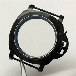 44mm Black Brushed Stainless Steel Watch Case 5ATM Waterproof Replacement For ETA 6497 6498 Seagull ST36 Watch Movement