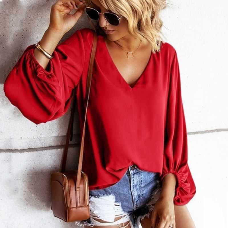 Fener kollu şifon bluz kadınlar artı boyutu V boyun gevşek bayan üstleri ve bluzlar kırmızı mavi siyah yeşil gömlek