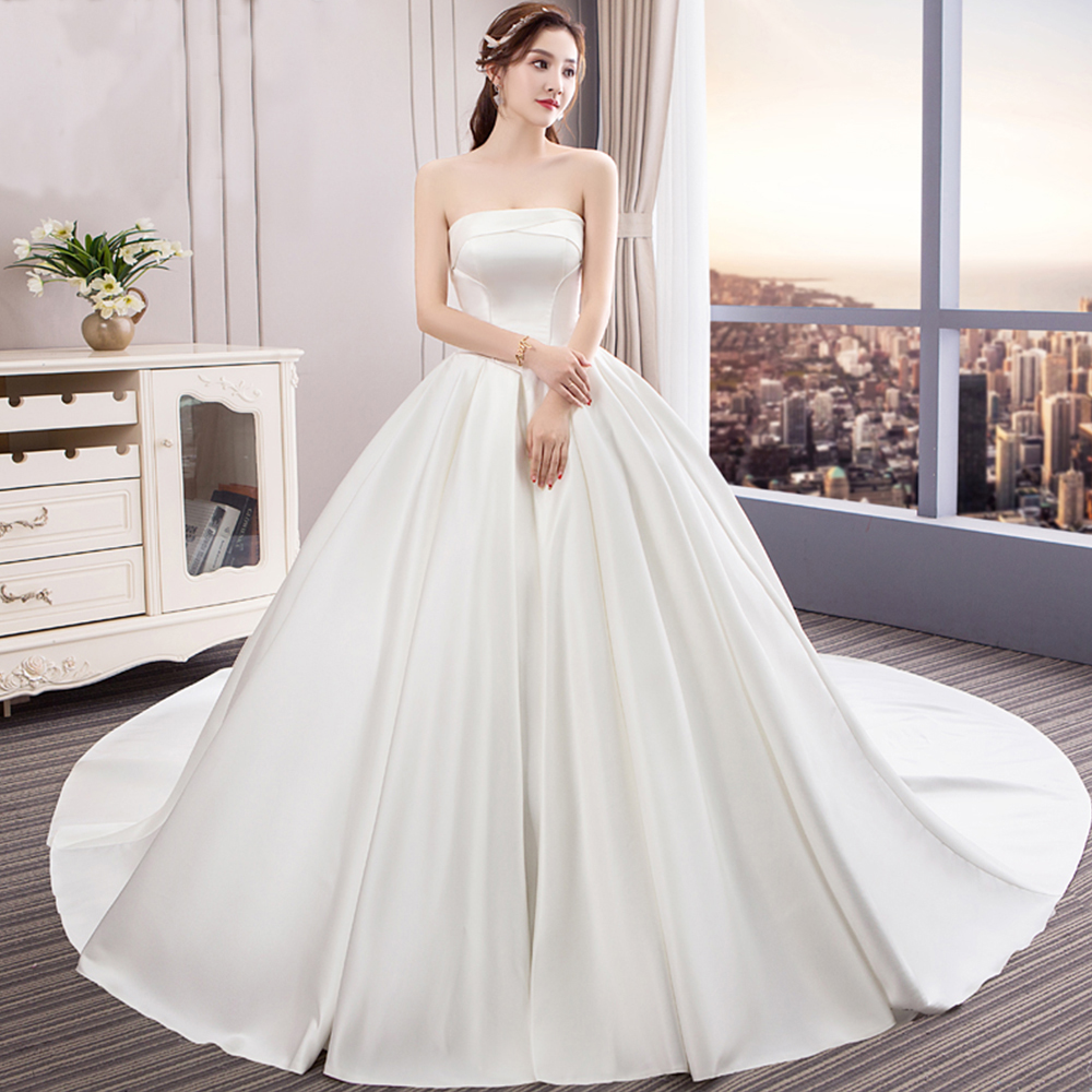 Vestido De Noiva Gorgeous Satin Ball Gown Wedding Dresses Trouwjurken Strapless Lace Up Simple Bridal Gowns