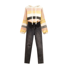 Autumn Season Big Yards Stripe Hooded Sweater Sister Elastic Jean Pants Two-Piece Outfit Women Clothing Set Denim Trousers