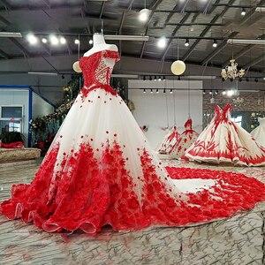 Image 3 - LS37749 2018 el çalışma kırmızı 3D çiçekler parti elbise kapalı omuz boncuklu lace up evaze elbise düğün parti için gerçek olarak resimleri