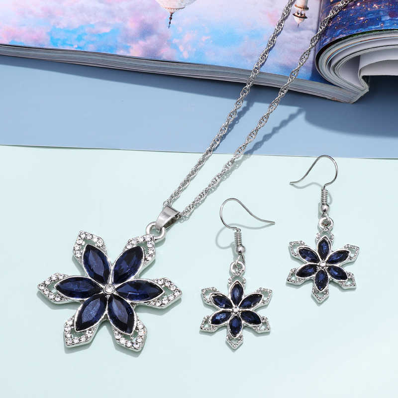 ZOSHI Fashion Purple Flower Cubic Zirconia Wedding Jewelry Sets inlay Luxury Crystal Silver Color Bridal Jewelry Set
