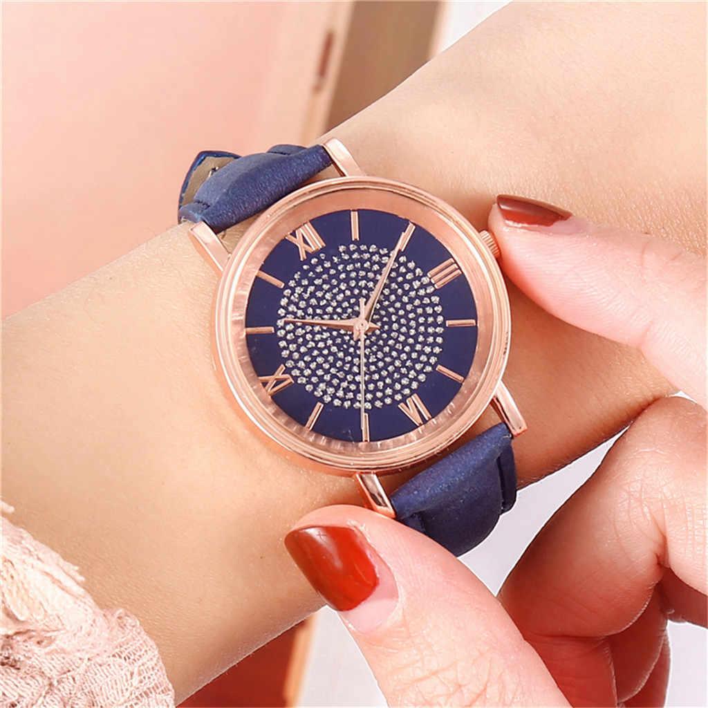Luxe décontracté femmes romantique ciel étoilé montre-bracelet en cuir strass concepteur dames horloge robe Simple