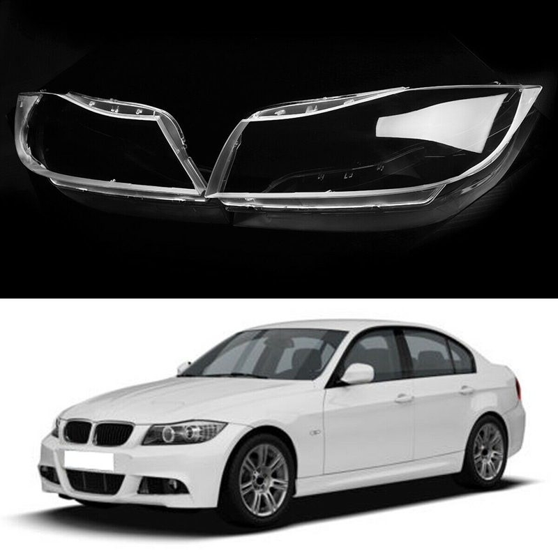1 Pair Car Xenon Headlight Glass Lamp Lens Cover For BMW 3 E90 E91
