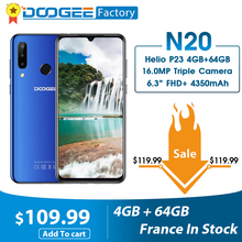 DOOGEE N20 16MP كاميرا خلفية ثلاثية الهاتف المحمول بصمة 6.3 بوصة FHD + عرض 64GB 4GB MT6763 ثماني النواة 4350mAh الهاتف الذكي