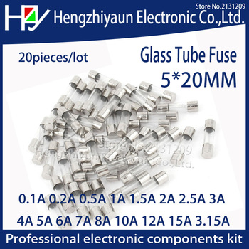 20 unids/lote fusible rápido de vidrio, 5x20mm 0.1A 0.2A 0.5A 1A 2A 2.5A 3A 3.15A 4A 5A 6A 7A 8A 10A 12A 15A /250V 1