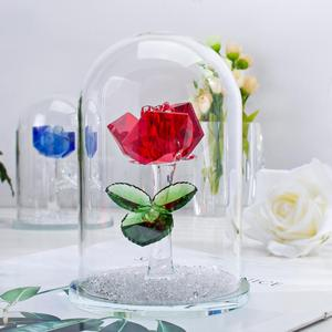 Image 4 - H&D Red Preserved Crystal Rose Flower in Glass Dome Ornament Collectible Gift Craft for Valentines Day Anniversary Birthday