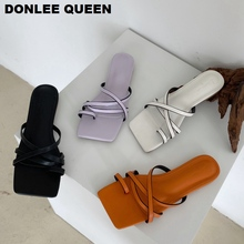 2020 Fashion Square Toe Slippers Women Slip On Flat Slides Beach Flip Flops Casual Narrow Brand Sandals Massage Outsole Slippers