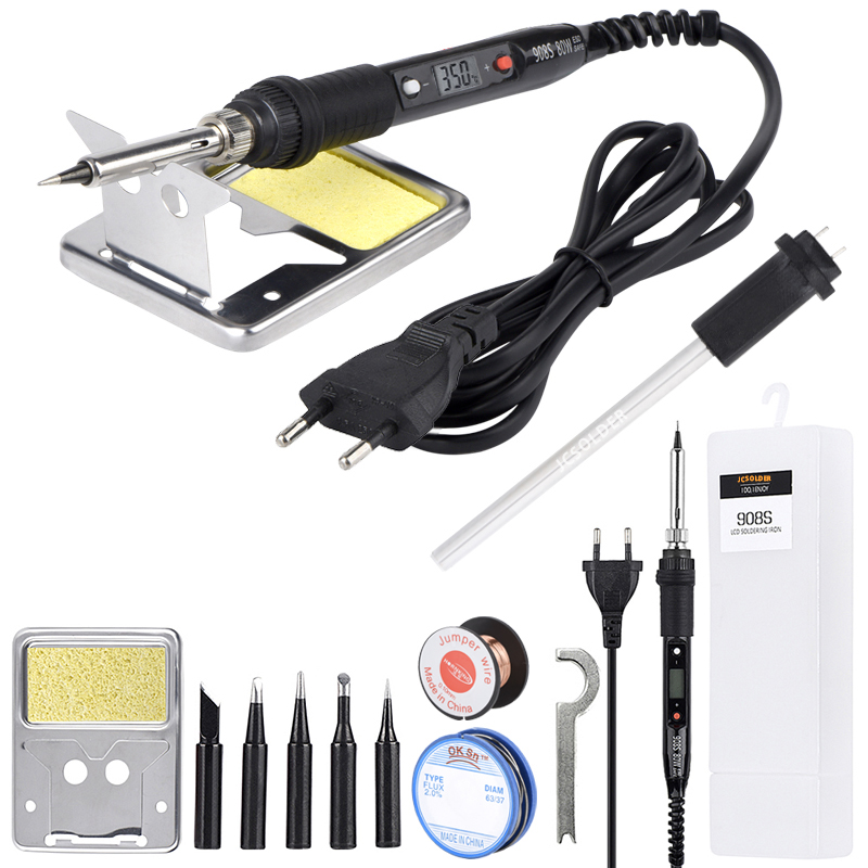 JCD Soldering Iron 80W 110V 220V Temperature Adjustable Welding Solder Tools Soldering Iron Kit Pure Copper Tips Ceramic Heater